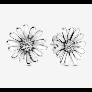 Pandora Pave Daisy Flower Statement Stud Earrings